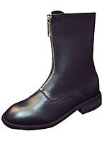 Mujer Zapatos PU Otoño Botas de Moda Botas Tacón Bajo Dedo redondo Cremallera Para Casual Negro