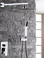 Modern/Comtemporary Shower System Rain Shower Handshower Included Two Holes for  Chrome , Shower Faucet
