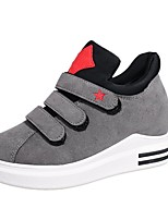 Women's Shoes PU Fall Comfort Sneakers Flat Heel Round Toe Magic Tape For Casual Green Gray Black