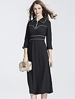 DFFD Women's Party Daily Vintage Chinoiserie A Line Dress,Solid Square Neck Midi 3/4 Length Sleeves Polyester Fall Mid Rise Micro-elastic