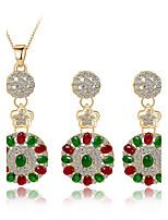Мода женщин простой стиль кубического zirconia горный хрусталь серьги ожерелье для свадьбы свадьбы подарки