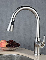 Traditional/Vintage Vessel Widespread Pull out with  Ceramic Valve Nickel Brushed , Kitchen faucet