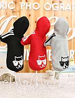 Katze Hund Kapuzenshirts Hundekleidung Lässig/Alltäglich Tier Schwarz Grau Rot