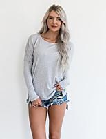 Tee-shirt Femme,Couleur Pleine Décontracté / Quotidien Printemps Automne Manches Longues Col Arrondi Polyester Moyen