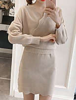 Women's Going out Casual/Daily Simple Fall Winter T-shirt Skirt Suits,Solid V Neck Long Sleeve Stretchy