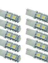 10pcs t10 5050 9smd w5w luz auto levou lâmpadas lâmpada cunha interior luz cor branca dc12v