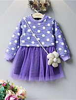 Girl's Casual/Daily Polka Dot Dress,Cotton Polyester Fall Winter Long Sleeve
