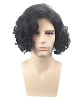 Men Synthetic Wig Capless Short Curly Wavy Black Side Part Party Wig Celebrity Wig Halloween Wig Cosplay Wig Costume Wig