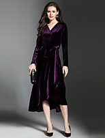 Maxlindy Women's Party Going out Casual/Daily Sexy Vintage Sophisticated A Line Dress,Solid V Neck Midi Long Sleeves Polyester Velvet Fall Winter