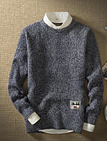 Men's Casual/Daily Regular Pullover,Solid Round Neck Long Sleeves Polyester Fall Medium Micro-elastic