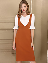 Baoyan Women's Casual/Daily Simple Sheath Dress,Solid V Neck Knee-length Sleeveless Acrylic Fall High Rise Stretchy Medium