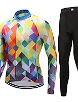 Cycling Jersey with Tights Unisex Long Sleeves Bike Clothing Suits Fast Dry Plaid/Check Winter Cycling/Bike Blue