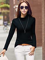 Tee-shirt Femme,Couleur Pleine Sortie Décontracté / Quotidien simple Chic de Rue Toutes les Saisons Manches Longues Col Roulé Coton