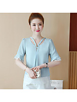 Women's Going out Casual/Daily Simple Summer Blouse,Solid Round Neck Short Sleeves Acrylic Polyester Medium