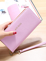 Women Bags PU Wallet Zipper for Shopping Office & Career All Seasons Blue Black Blushing Pink Purple