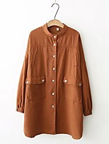 Women's Going out Casual/Daily Simple Street chic Spring Fall Trench Coat,Solid Stand Long Sleeve Long Others