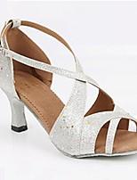 Women's Latin Glitter Heel Indoor Sparkling Glitter Customized Heel Silver Customizable