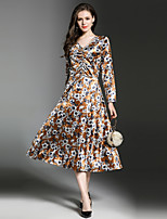 Maxlindy Women's Party Going out Casual/Daily Sexy Vintage Sophisticated A Line Dress,Floral V Neck Midi Long Sleeves Polyester Velvet Fall Winter