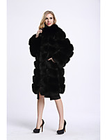 Women's Going out Simple Casual Winter Fur Coat,Solid V Neck Regular Faux Fur