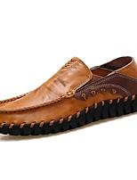 Для мужчин обувь Дерматин Кожа Весна Осень Удобная обувь Мокасины и Свитер Комбинация материалов Назначение Повседневные Черный
