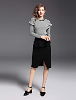 YIYEXINXIANG Women's Casual/Daily Work Simple Fall Sweater Skirt Suits,Solid Round Neck Long Sleeve Micro-elastic