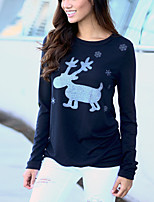 Women's Daily Holiday Casual Street chic Fall T-shirt,Animal Print Round Neck 3/4 Length Sleeves Polyester