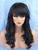 Femme Perruques capless à cheveux humains Noir Blond Miel Auburn Long Ondulés Partie latérale