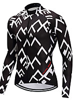 cheap -Cycling Jersey Men's Long Sleeves Bike Jersey High Elasticity Winter Mountain Cycling Road Cycling Cycling Bike Bike/Cycling Black/White