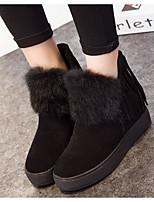Femme Chaussures Cuir Nappa Hiver Bottes à la Mode Bottes Talon Plat Bottine/Demi Botte Pour Décontracté Noir Kaki