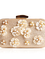 Women Bags All Seasons Polyester Evening Bag Flower(s) Pearl Detailing for Wedding Event/Party Gold Black Silver Gray