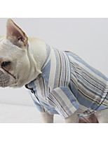 Cat Dog T-shirts Dog Clothes Casual/Daily Stripe Red Blue