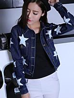 Giacca di jeans Da donna Casual Semplice Autunno,Fantasia geometrica Colletto Cotone Standard