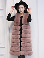 Women's Casual/Daily Simple Fall Winter Fur Coat,Solid V Neck Sleeveless Long Fox Fur