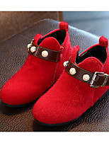 Girls' Shoes Flocking Fall Winter Comfort Fashion Boots Boots For Casual Red Gray Black