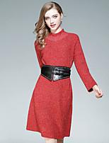 Tricot Robe Femme Sortie Décontracté / Quotidien Couleur Pleine Mao Mi-long Manches Longues Polyester Automne Taille Normale Elastique