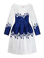 Девичий Платье На каждый день Праздник Хлопок Полиэстер С принтом Все сезоны Длинный рукав