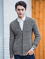 Men's Beach Regular Cardigan,Solid Round Neck Long Sleeves Others Summer Medium Micro-elastic