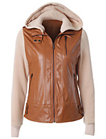 Women's Going out Casual/Daily Simple Street chic Spring Winter Leather Jacket,Color Block Hooded Long Sleeve Regular PU Polyester