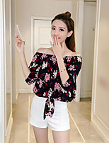 Women's Daily Casual T-shirt,Floral Boat Neck Half Sleeves Cotton