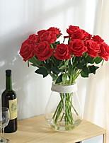 2 Ramo Poliéster Rosas Flor de Mesa Flores artificiais