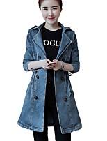 Women's Daily Street chic Winter Fall Denim Jacket,Print Shirt Collar Long Sleeve Long Cotton Polyester