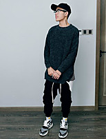 Men's Casual/Daily Simple Long Pullover,Print Round Neck Long Sleeves Polyester Fall Medium Micro-elastic