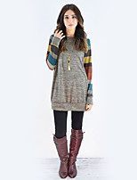 Women's Daily Holiday Casual Street chic Fall T-shirt,Color Block Round Neck Long Sleeves Cotton