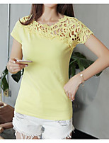 Women's Daily Casual T-shirt,Solid Round Neck Short Sleeves Cotton