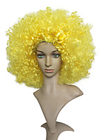 Women Synthetic Wig Capless Short Jerry Curl Yellow Natural Hairline Bob Haircut Party Wig Celebrity Wig Halloween Wig Short Cosplay Wig