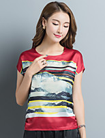 Women's Daily Sophisticated T-shirt,Color Block Round Neck Short Sleeves Silk