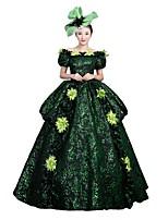 Victorien Rococo Féminin Adulte Costume de Soirée Bal Masqué Vert foncé Cosplay Manches Courtes Longueur Sol