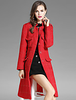 EWUS Women's Going out Casual/Daily Street chic Fall Coat,Print Notch Lapel Long Sleeve Long Polyester