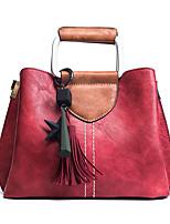Donna Sacchetti Per tutte le stagioni PU (Poliuretano) Tote Cerniera per Shopping Casual Nero Rosso Rosa Verde militare