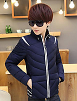 Men's Padded Coat,Simple Casual/Daily Color Block-Others Cotton Long Sleeves